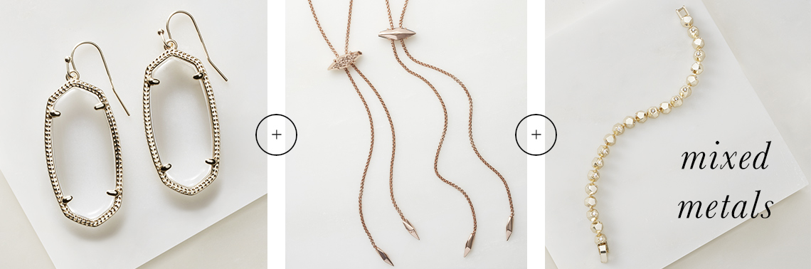 Mixed metal jewelry including Danielle Rhodium Earrings, Cheska Rose Gold Bolo Necklace and Posey Gold Bracelet