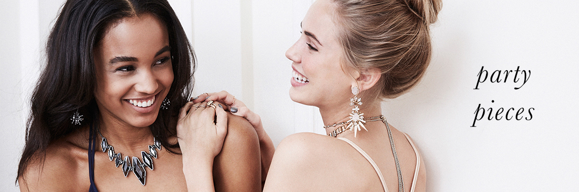 Party jewelry including Winter Collection Isadora Statement Earrings, Harper Choker and Berniece Adjustable Statement Necklace