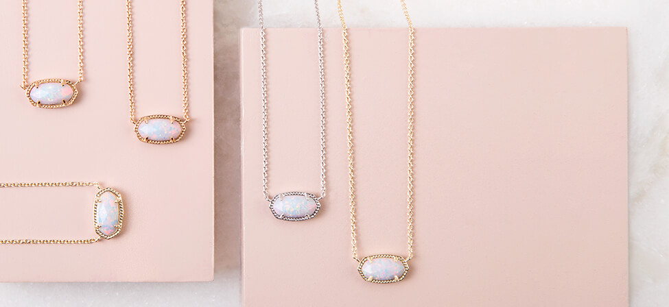 Kendra Scott Elisa white opal necklaces