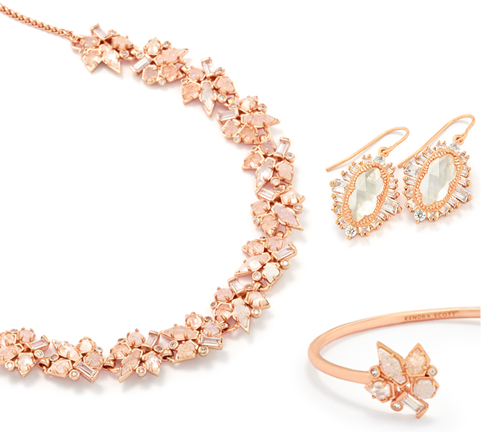 Kendra Scott Bridal Collection Andrina Choker Necklace, Alectra Cuff Bracelet and Kapri Drop Earrings on white