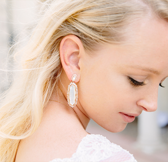 Kendra Scott Bridal Collection Katrina Statment Earrings on a Bride