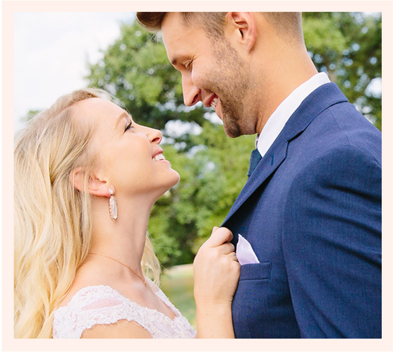 Kendra Scott Bridal Collection Katrina Statement Earrings on bride with groom